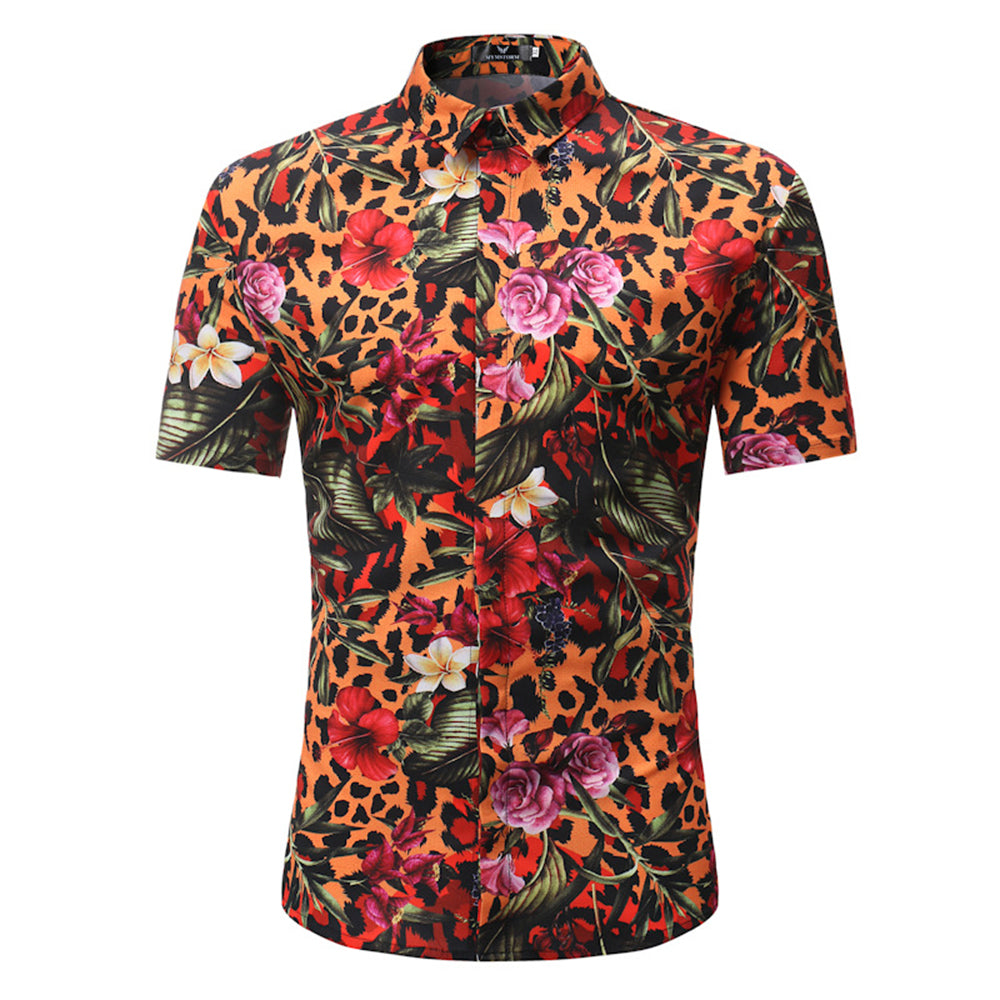 Men's Button down Tailor Fit Soft 100% Cotton Short Sleeve Dress Shirt Multi Color casual And Formal - Amedeo Exclusive