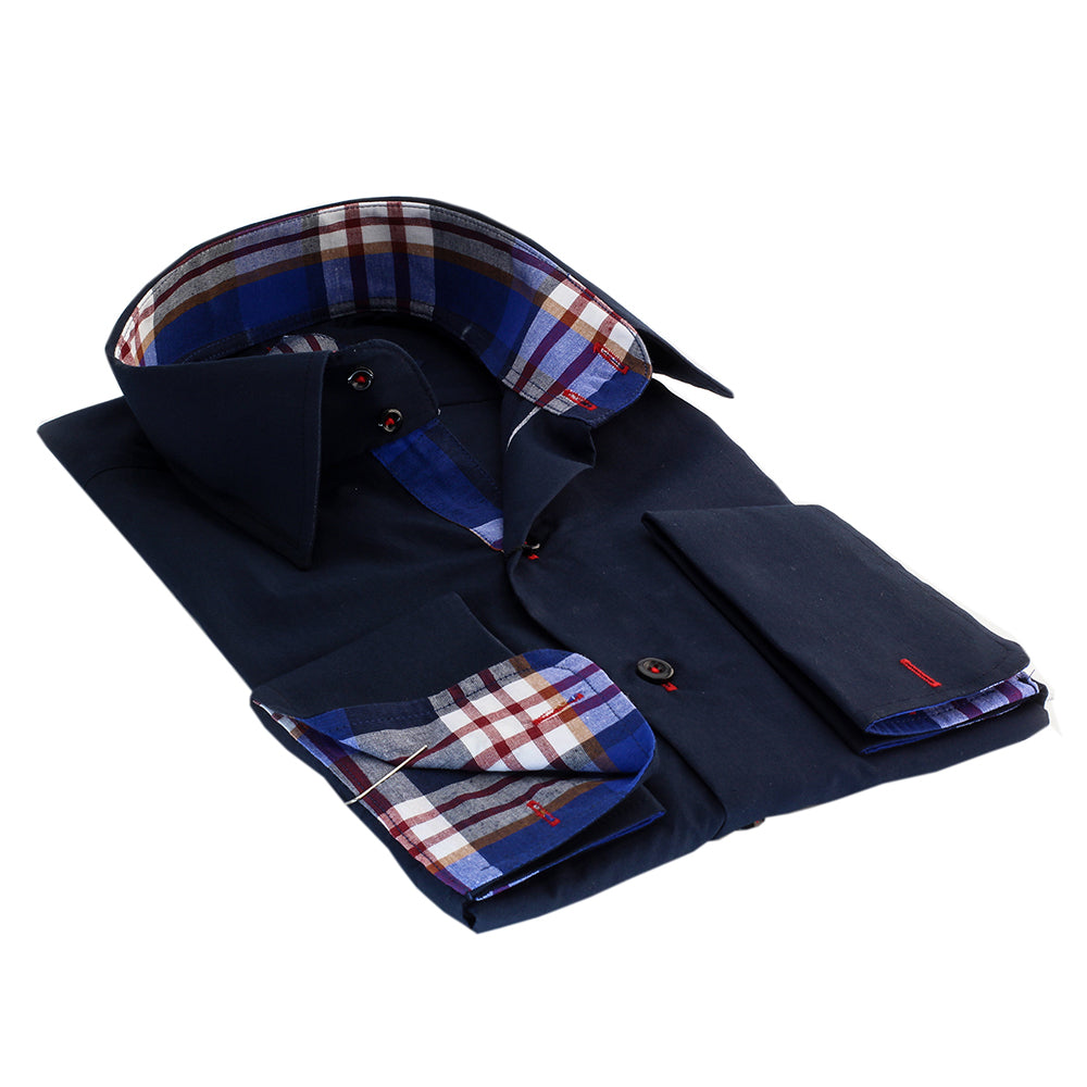 Navy Blue Red Check Men's Dress Shirt, Button Down Slim Fit With French Cuff Casual And Formal