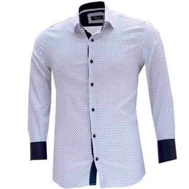 Mens Slim Fit French Cuff Dress Shirts with Cufflink Holes - Casual and Formal