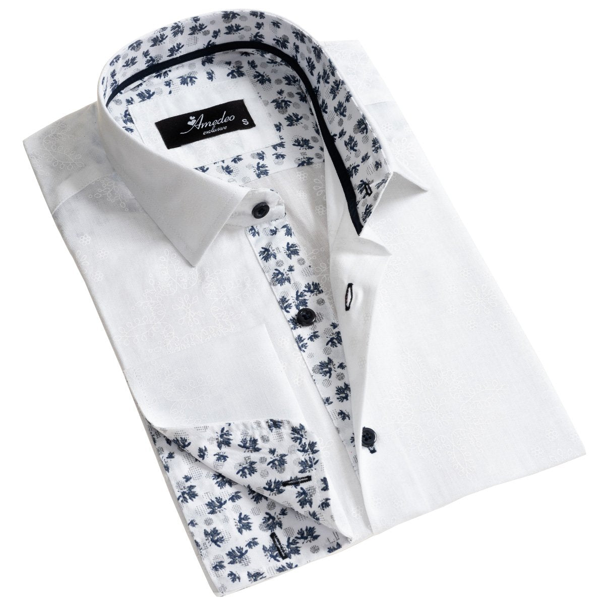 White and Blue Floral Dark Purple Men's Slim Fit French Cuff Dress Shirts with Cufflink Holes - Casual and Formal - Amedeo Exclusive