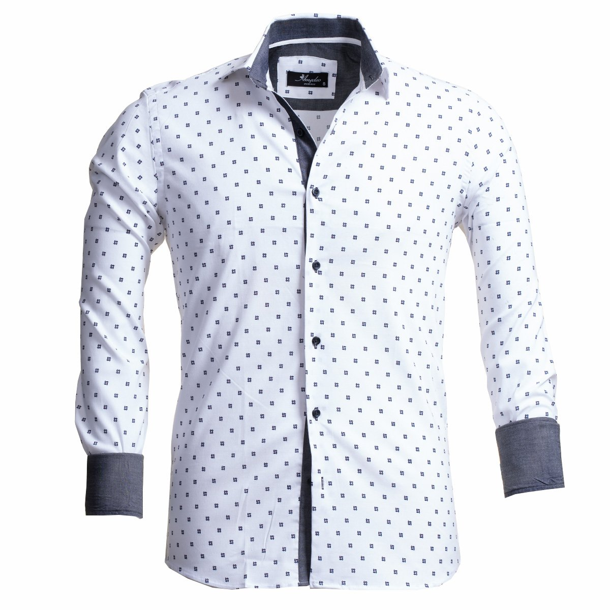 White With Black Dots Men's Slim Fit French Cuff Dress Shirts with Cufflink Holes - Casual and Formal - Amedeo Exclusive