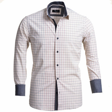 Tan Checked Men's Slim Fit French Cuff Dress Shirts with Cufflink Holes - Casual and Formal - Amedeo Exclusive