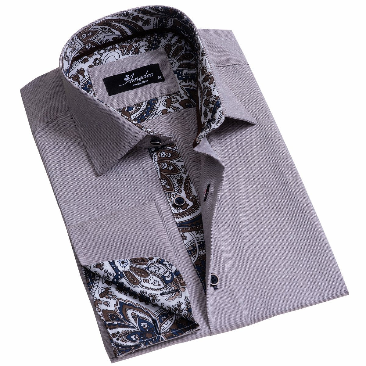 Light Purple Men's Slim Fit French Cuff Dress Shirts with Cufflink Holes - Casual and Formal - Amedeo Exclusive