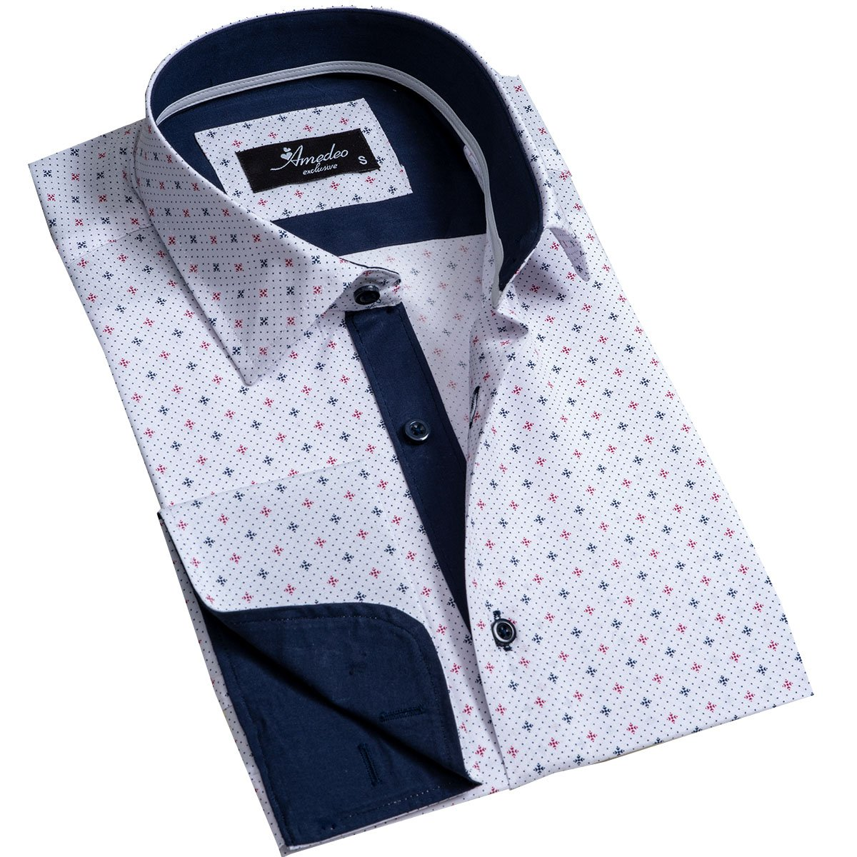 Off White Mens Slim Fit French Cuff Dress Shirts with Cufflink Holes - Casual and Formal - Amedeo Exclusive