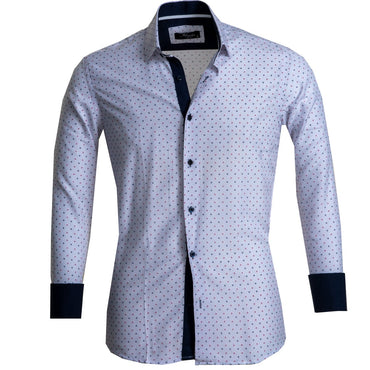 Off White Men's Reversible Dress Shirt, Button Down Slim Fit with French Cuff Casual and Formal - Amedeo Exclusive
