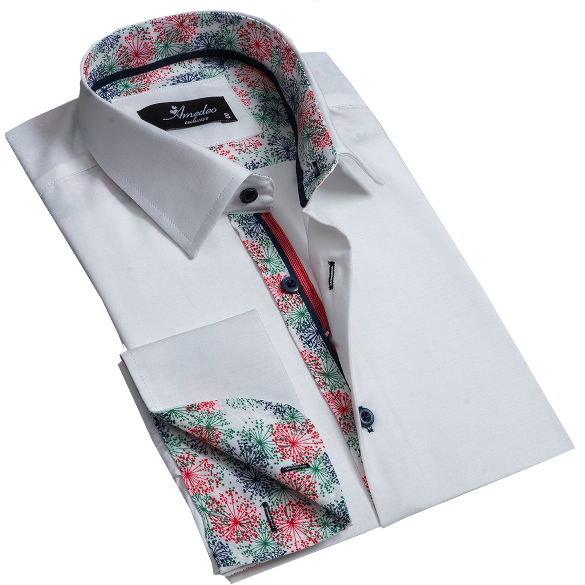 Solid White Mens Slim Fit Designer Dress Shirt - tailored Cotton Shirts for Work and Casual Wear - Amedeo Exclusive