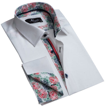 Solid White Men's Reversible Dress Shirt, Button Down Slim Fit with French Cuff Casual and Formal - Amedeo Exclusive