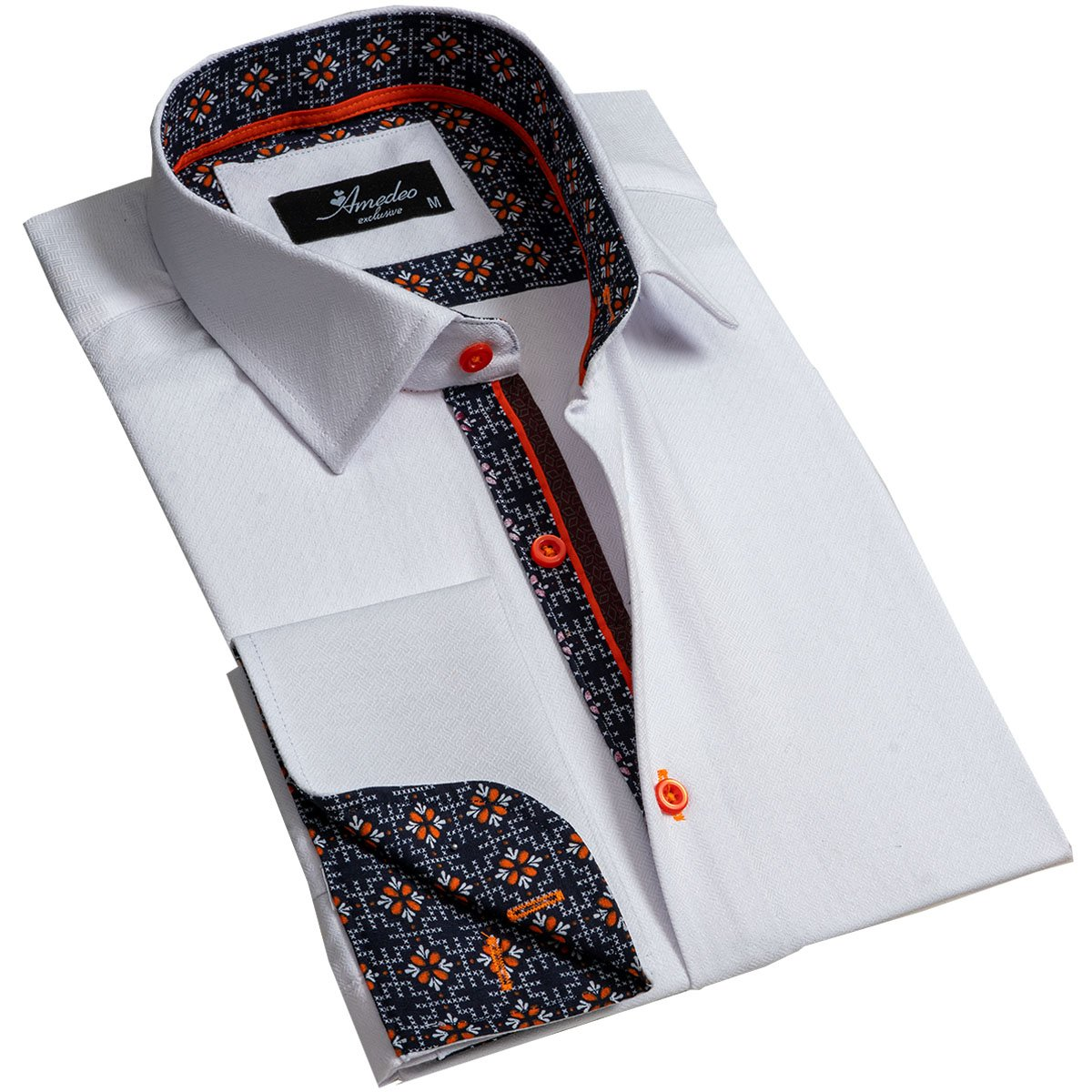 Textured White Men's Reversible Dress Shirt, Button Down Slim Fit with French Cuff Casual and Formal - Amedeo Exclusive