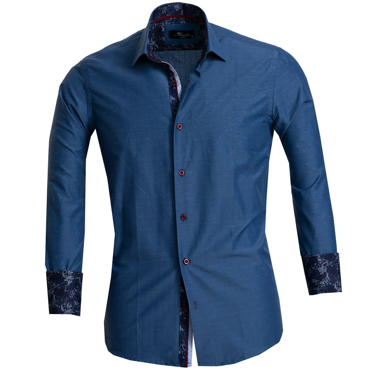 Amedeo Exclusive Mens Cotton Long Sleeve Reversible French Cuff Turkey Shirts