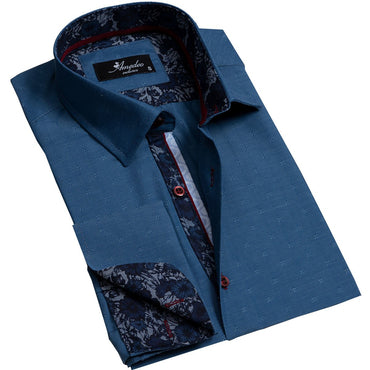 Textured Blue Men's Reversible Dress Shirt, Button Down Slim Fit with French Cuff Casual and Formal - Amedeo Exclusive