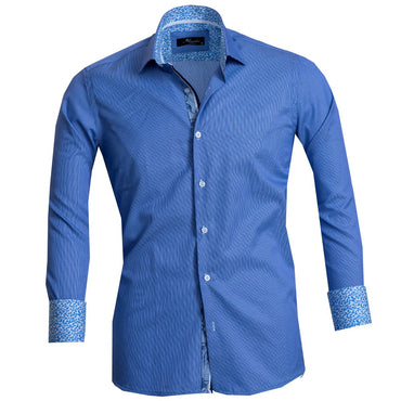Blue Lines Men's Reversible Dress Shirt, Button Down Slim Fit with French Cuff Casual and Formal - Amedeo Exclusive