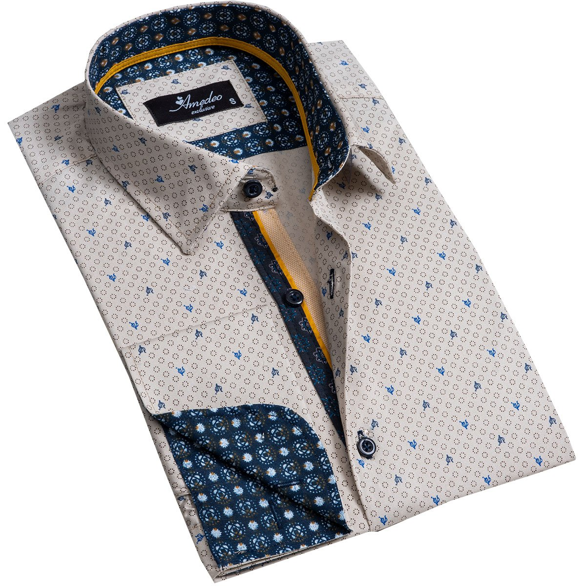 Beige Men's Reversible Dress Shirt, Button Down Slim Fit with French Cuff Casual and Formal - Amedeo Exclusive