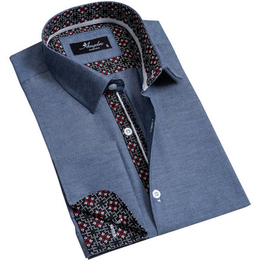 Denim Blue Mens Slim Fit French Cuff Dress Shirts with Cufflink Holes - Casual and Formal - Amedeo Exclusive