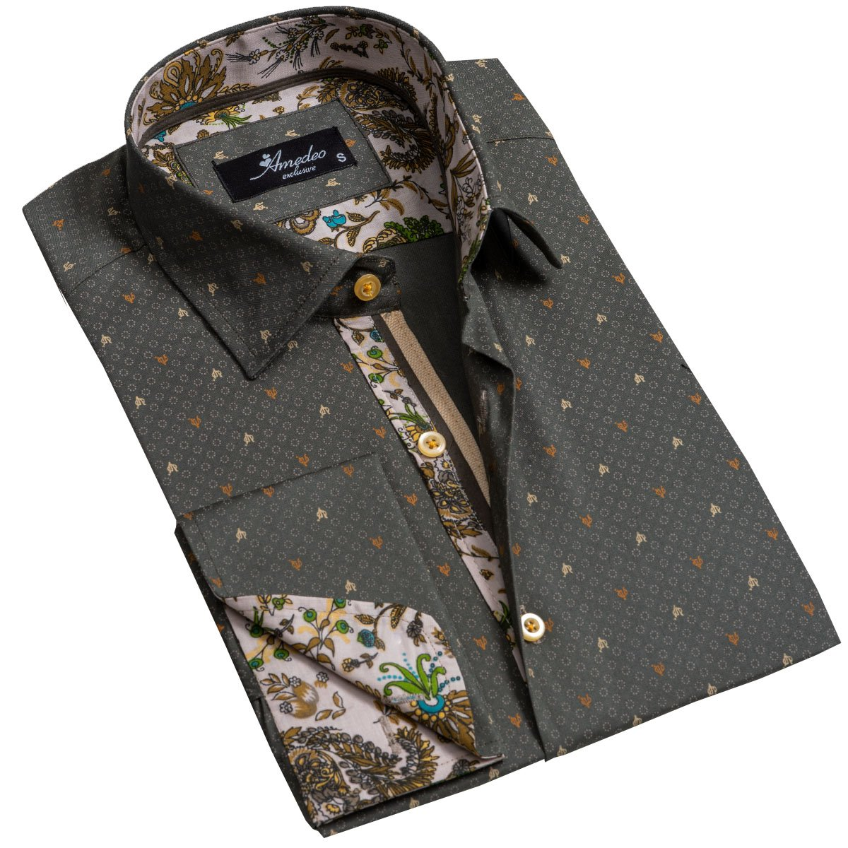 Dark Grey Mens Slim Fit French Cuff Dress Shirts with Cufflink Holes - Casual and Formal - Amedeo Exclusive