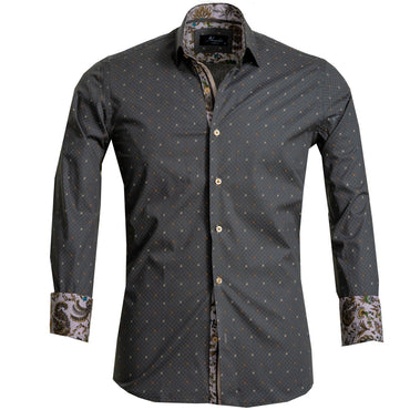 Dark Grey Men's Reversible Dress Shirt, Button Down Slim Fit with French Cuff Casual and Formal - Amedeo Exclusive