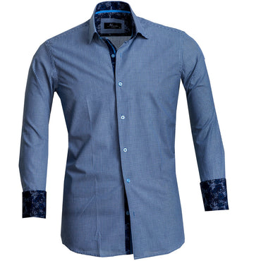 Blue Checkered Mens Slim Fit French Cuff Dress Shirts with Cufflink Holes - Casual and Formal - Amedeo Exclusive