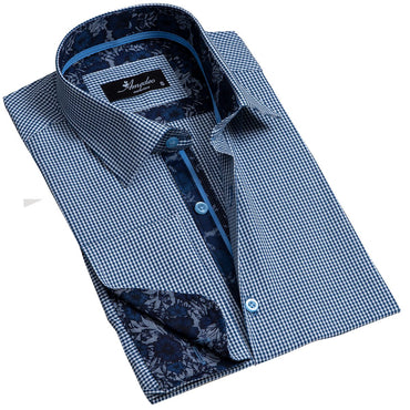 Blue Checkered Men's Reversible Dress Shirt, Button Down Slim Fit with French Cuff Casual and Formal - Amedeo Exclusive