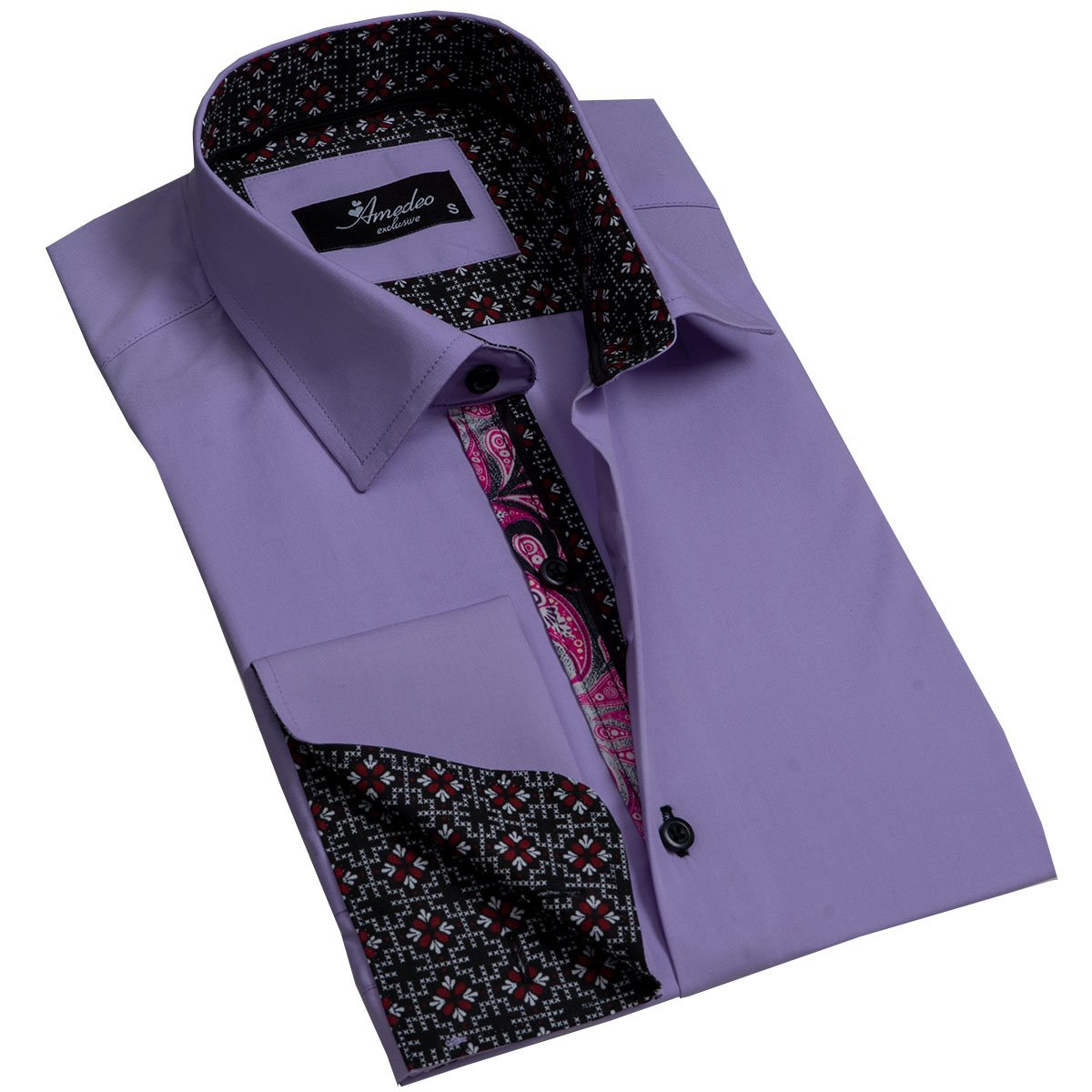 Solid Purple Men's Reversible Dress Shirt, Button Down Slim Fit with French Cuff Casual and Formal - Amedeo Exclusive