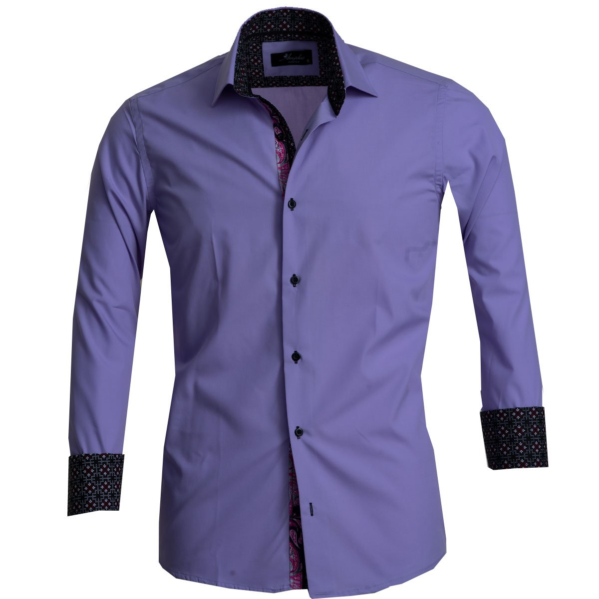 Solid Purple Mens Slim Fit French Cuff Dress Shirts with Cufflink Holes - Casual and Formal - Amedeo Exclusive