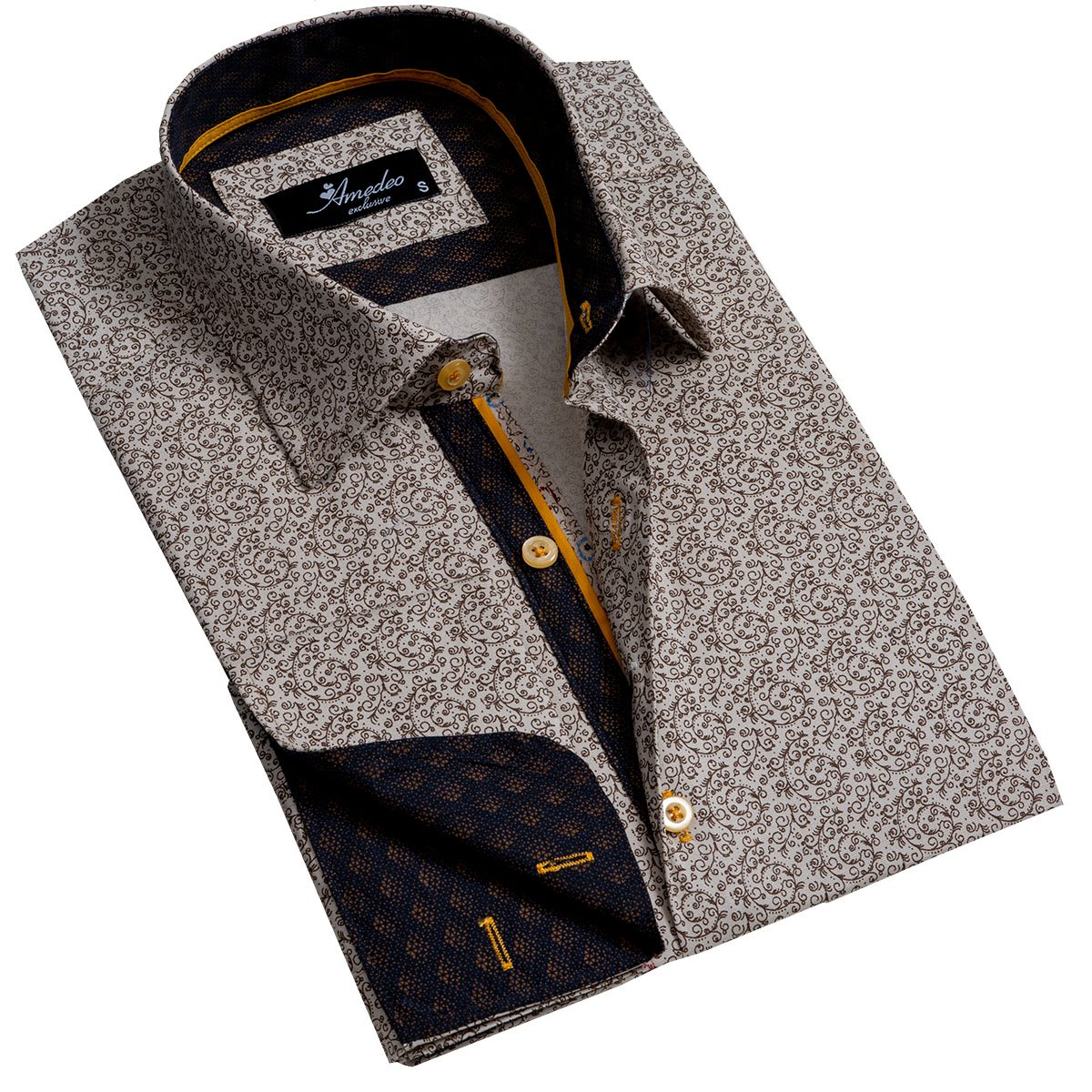 Tan Men's Reversible Dress Shirt, Button Down Slim Fit with French Cuff Casual and Formal - Amedeo Exclusive