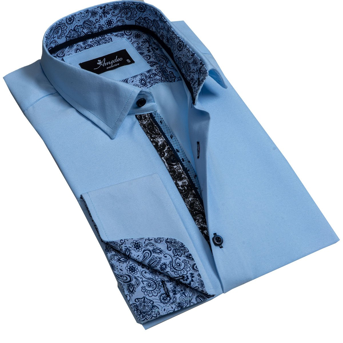 Solid Light Blue Mens Slim Fit French Cuff Dress Shirts with Cufflink Holes - Casual and Formal - Amedeo Exclusive