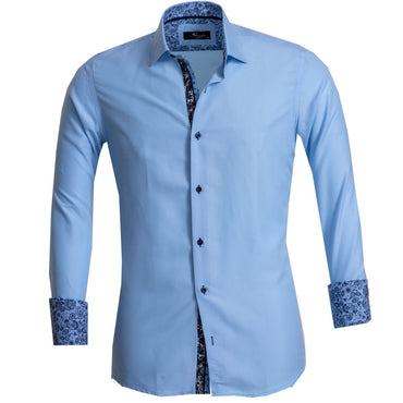 Solid Light Blue Men's Reversible Dress Shirt, Button Down Slim Fit with French Cuff Casual and Formal - Amedeo Exclusive