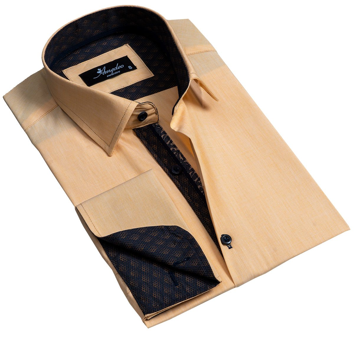 Solid Copper Mens Slim Fit French Cuff Dress Shirts with Cufflink Holes - Casual and Formal - Amedeo Exclusive