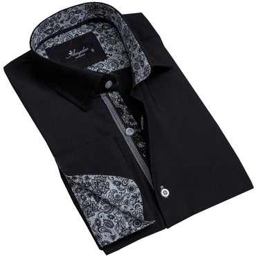 Solid Black Men's Reversible Dress Shirt, Button Down Slim Fit with French Cuff Casual and Formal - Amedeo Exclusive