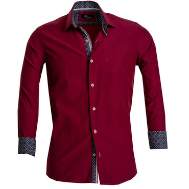Solid Burgandy Mens Slim Fit French Cuff Dress Shirts with Cufflink Holes - Casual and Formal - Amedeo Exclusive