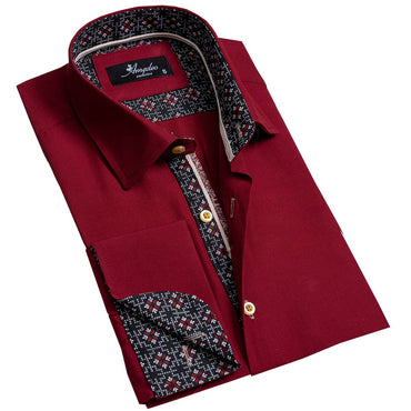 Solid Burgandy Men's Reversible Dress Shirt, Button Down Slim Fit with French Cuff Casual and Formal - Amedeo Exclusive