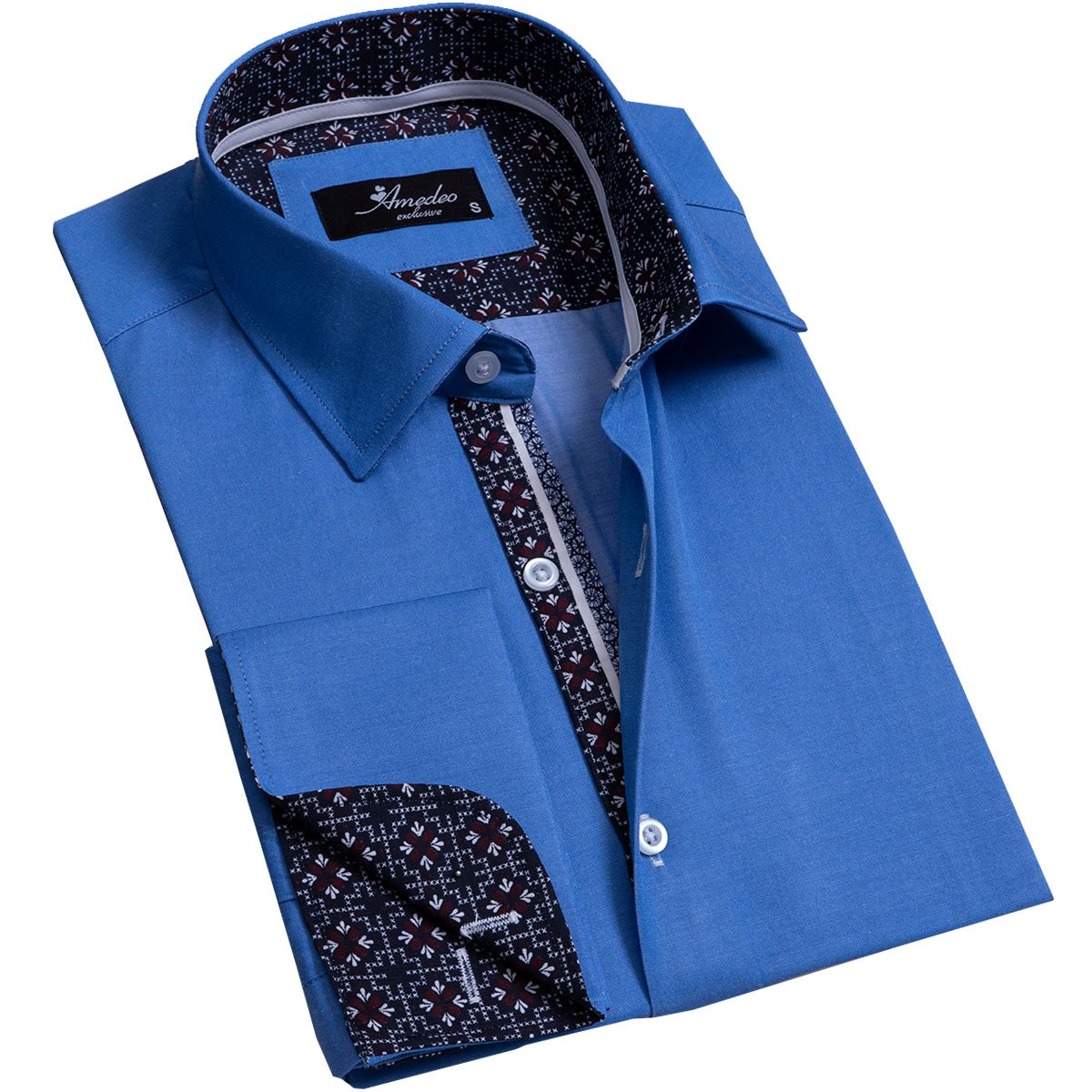 Solid Medium Blue Mens Slim Fit French Cuff Dress Shirts with Cufflink Holes - Casual and Formal - Amedeo Exclusive