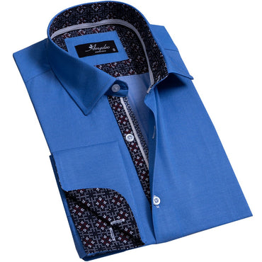 Solid Medium Blue Men's Reversible Dress Shirt, Button Down Slim Fit with French Cuff Casual and Formal - Amedeo Exclusive
