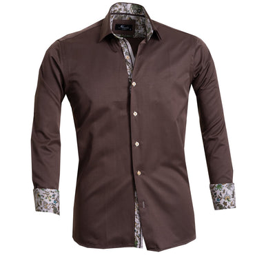 Solid Choclate Brown Men's Reversible Dress Shirt, Button Down Slim Fit with French Cuff Casual and Formal - Amedeo Exclusive