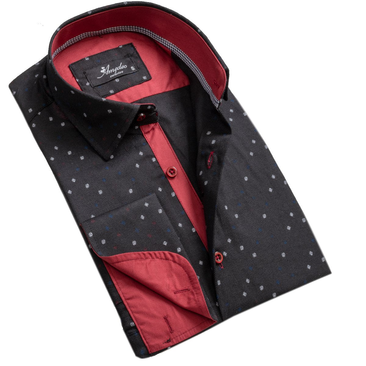 Black And Red Mens Slim Fit French Cuff Dress Shirts with Cufflink Holes - Casual and Formal - Amedeo Exclusive