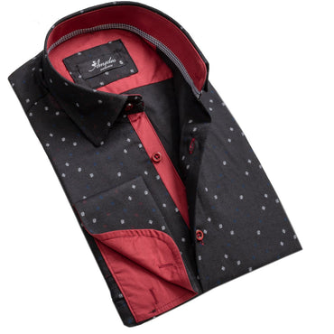 Black and Red Design Men's Reversible Dress Shirt, Button Down Slim Fit with French Cuff Casual and Formal - Amedeo Exclusive