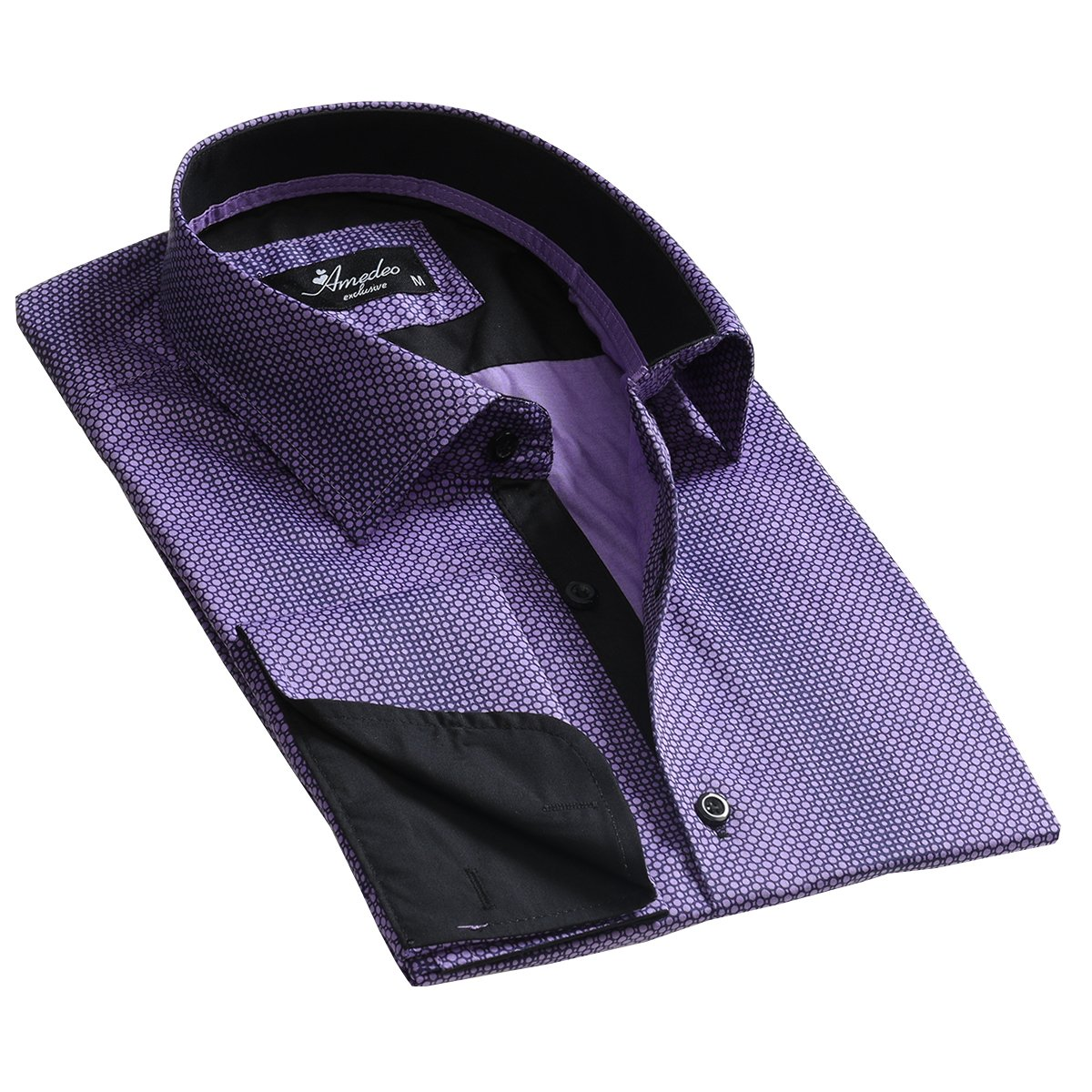 Purple Design Mens Slim Fit French Cuff Dress Shirts with Cufflink Holes - Casual and Formal - Amedeo Exclusive