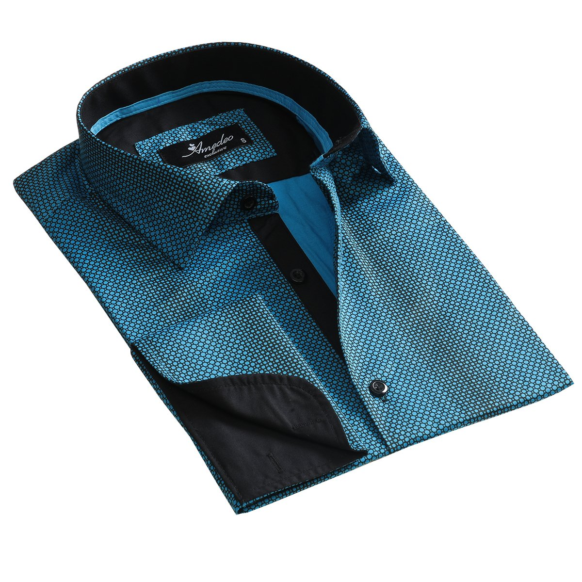 Turquoise Blue Design Mens Slim Fit Designer Dress Shirt - tailored Cotton Shirts for Work and Casual Wear - Amedeo Exclusive