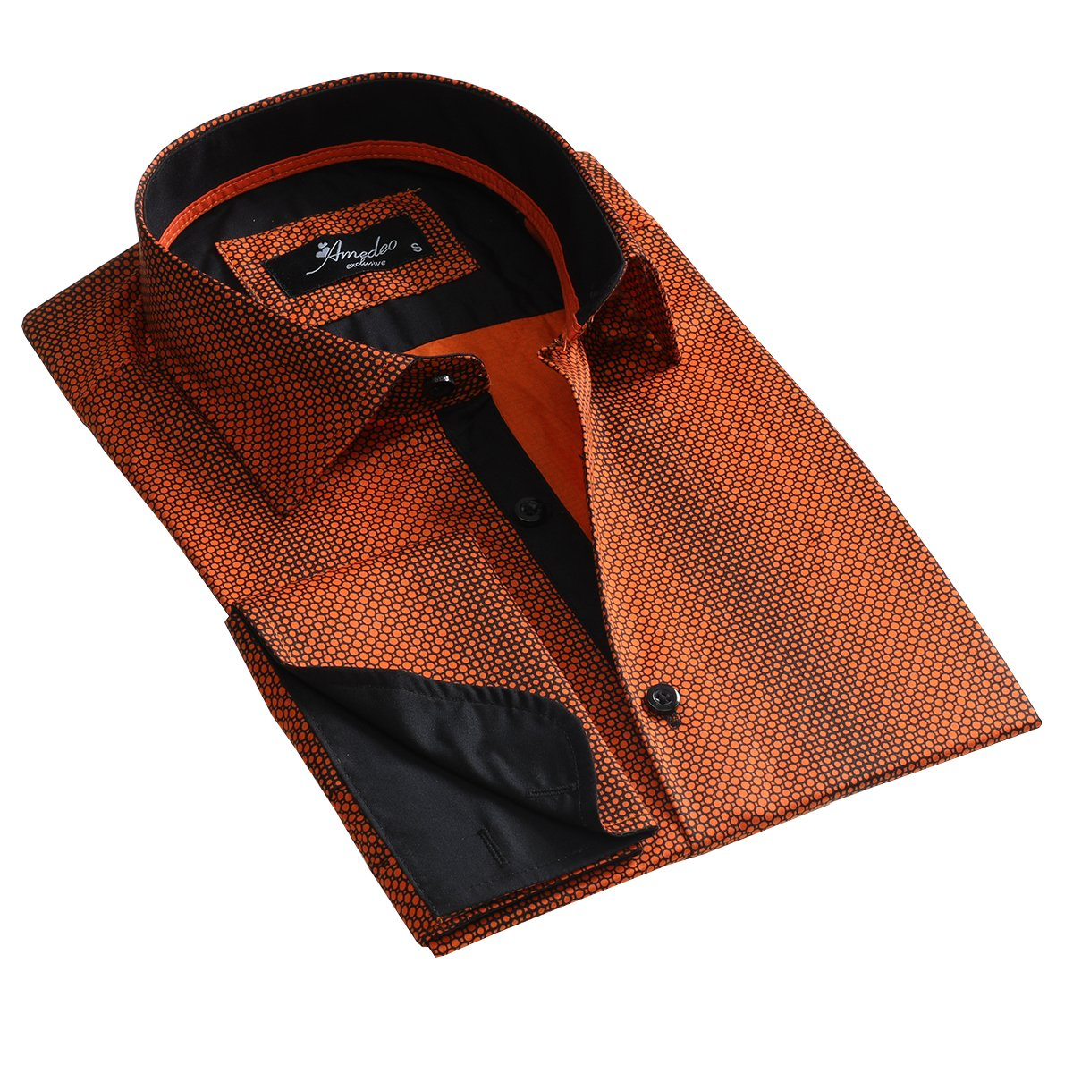 Orange Design Men's Reversible Dress Shirt, Button Down Slim Fit with French Cuff Casual and Formal - Amedeo Exclusive