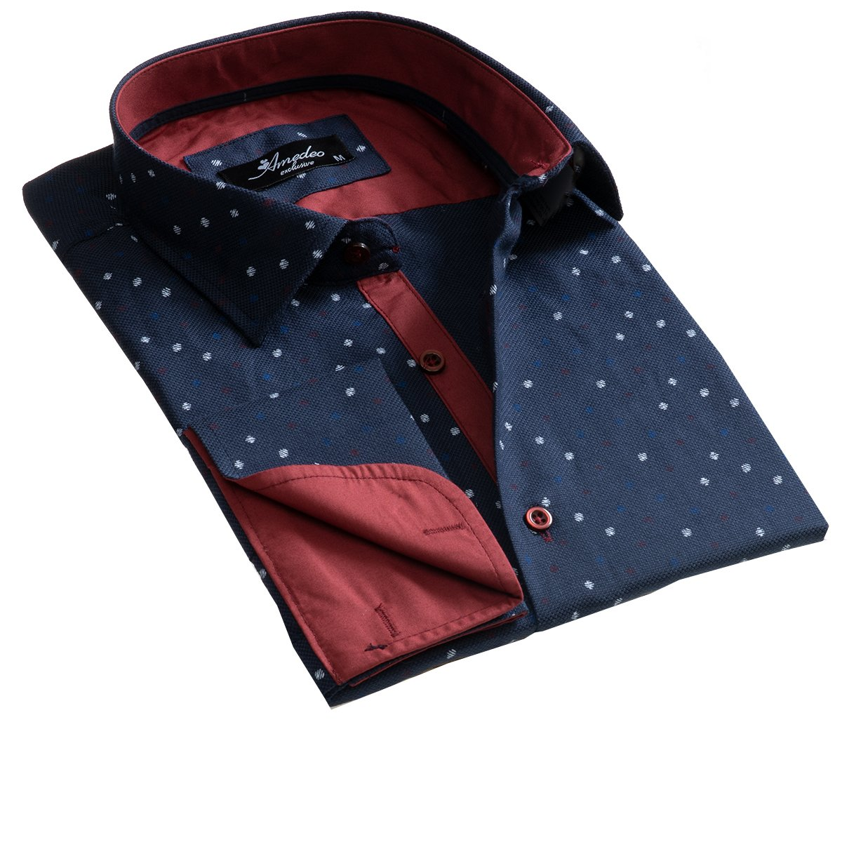 Dark Blue Mens Slim Fit French Cuff Dress Shirts with Cufflink Holes - Casual and Formal - Amedeo Exclusive