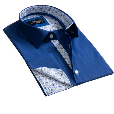 Medium Blue Design Mens Slim Fit French Cuff Dress Shirts with Cufflink Holes - Casual and Formal - Amedeo Exclusive
