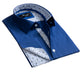 Medium Blue Design Men's Reversible Dress Shirt, Button Down Slim Fit with French Cuff Casual and Formal - Amedeo Exclusive