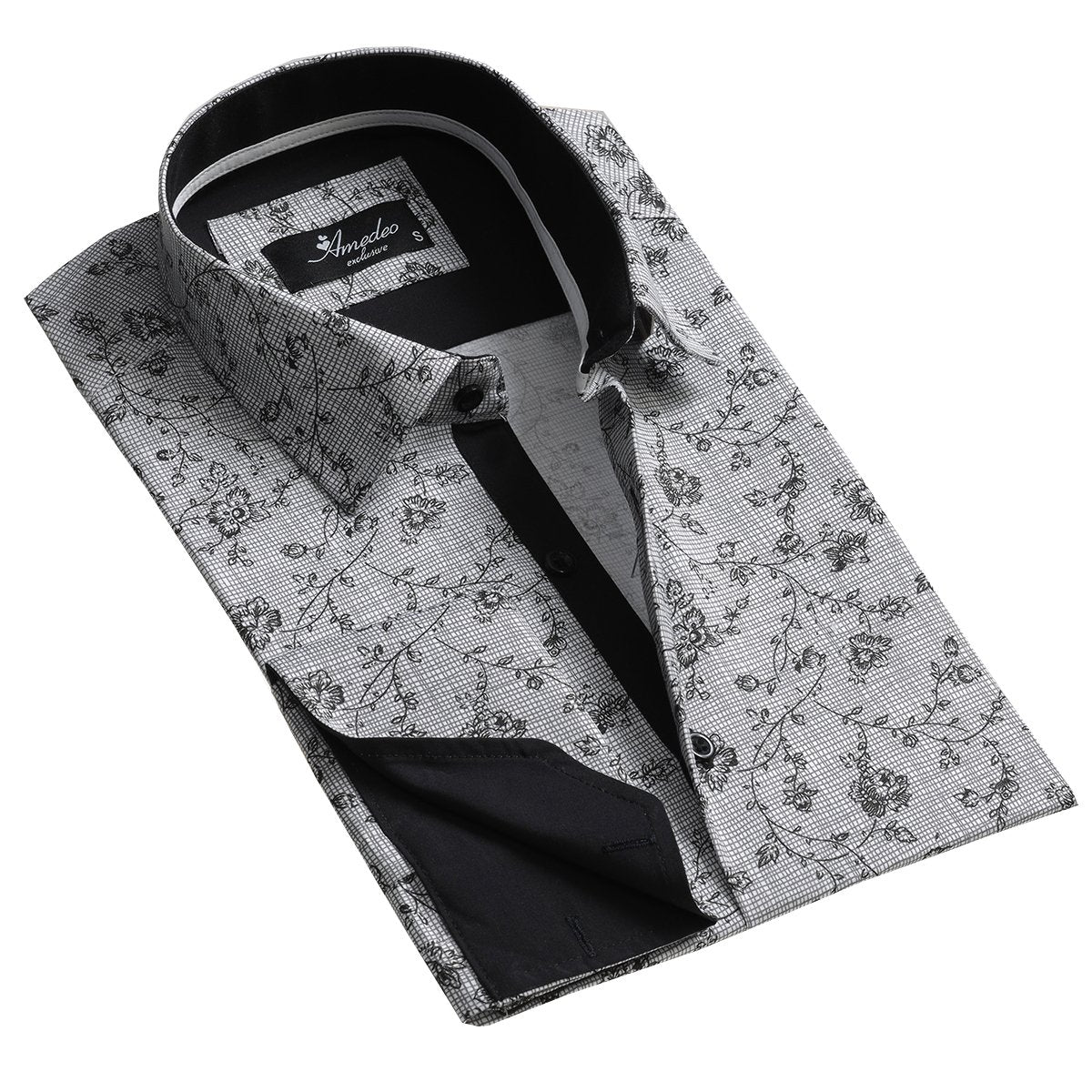 Black and White Design Men's Reversible Dress Shirt, Button Down Slim Fit with French Cuff Casual and Formal - Amedeo Exclusive