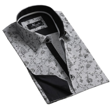 Black and White Design Men's Reversible Dress Shirt, Button Down Slim Fit with French Cuff Casual and Formal