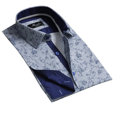 Blue and White Design Men's Reversible Dress Shirt, Button Down Slim Fit with French Cuff Casual and Formal