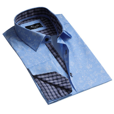 Blue Floral Design Men's Reversible Dress Shirt, Button Down Slim Fit with French Cuff Casual and Formal