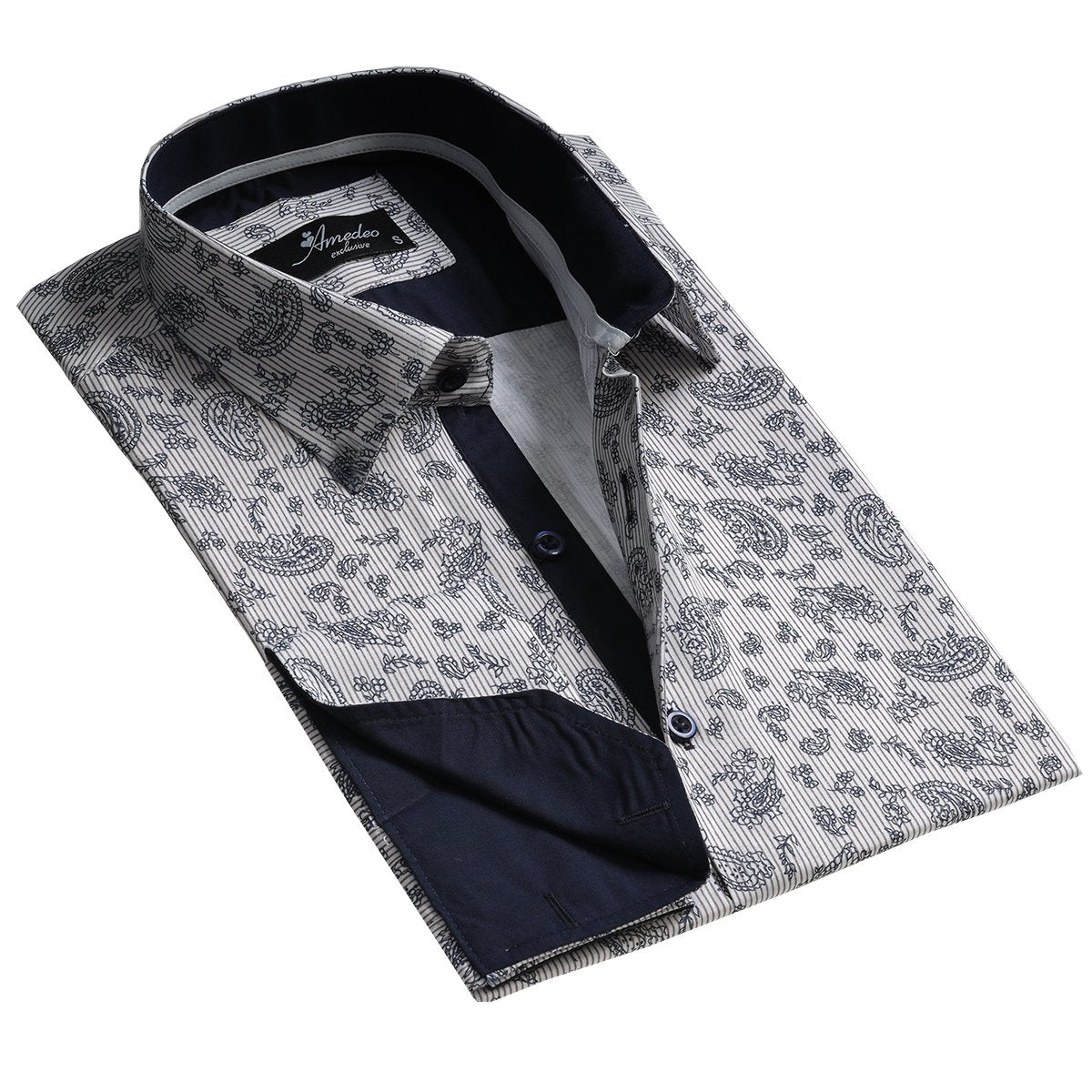 Light Grey Floral Design Men's Reversible Dress Shirt, Button Down Slim Fit with French Cuff Casual and Formal - Amedeo Exclusive