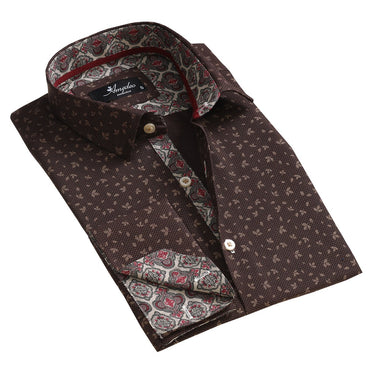 Brown Mens Slim Fit French Cuff Dress Shirts with Cufflink Holes - Casual and Formal - Amedeo Exclusive