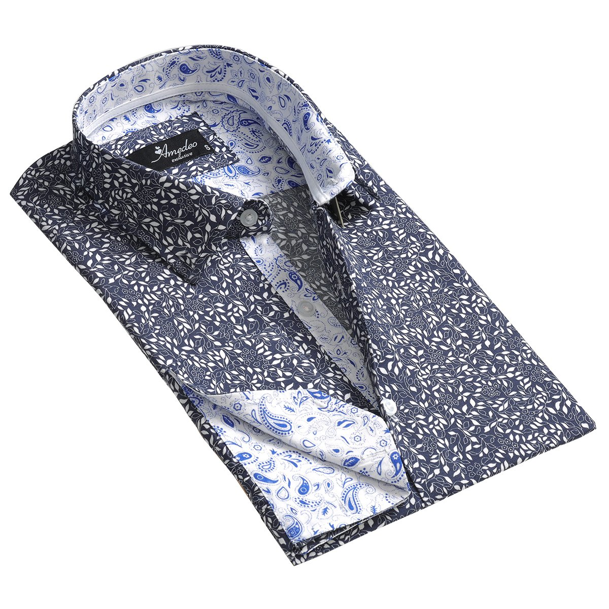 Grey Blue Floral Design Men's Reversible Dress Shirt, Button Down Slim Fit with French Cuff Casual and Formal - Amedeo Exclusive