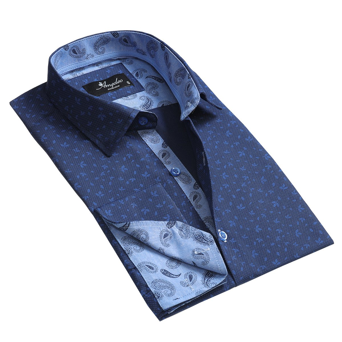 Blue Floral Floral Design Men's Reversible Dress Shirt, Button Down Slim Fit with French Cuff Casual and Formal