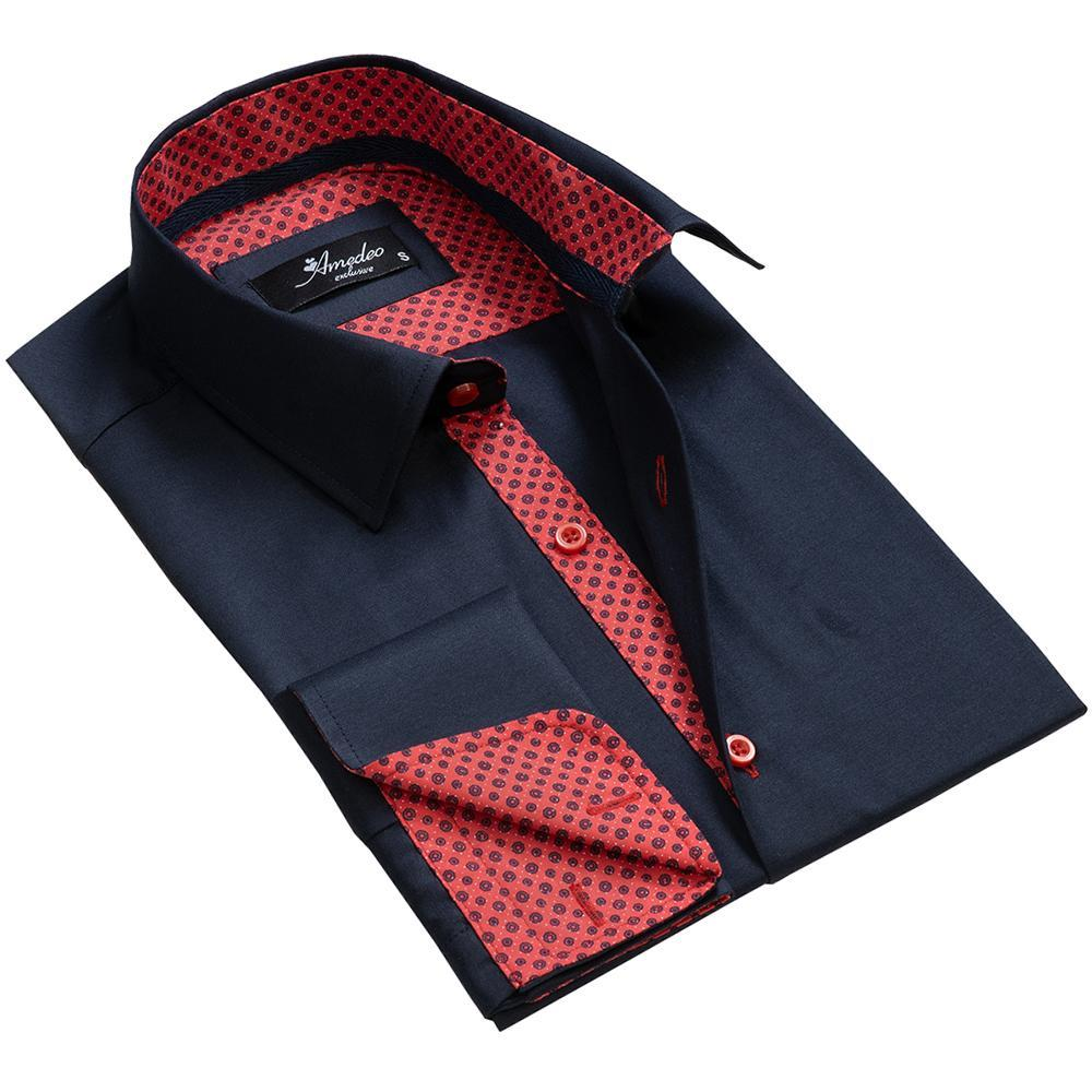 Navy Blue Red Men's Reversible Dress Shirt, Button Down Slim Fit With French Cuff Casual And Formal - Amedeo Exclusive